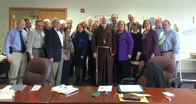 Cardinal Sean stops by LABOR GUILD Board's Spring Planning Session.