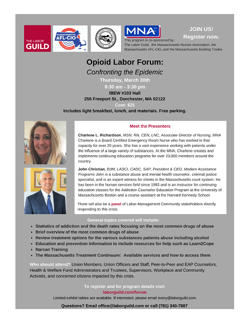 Opioid Labor Forum- Join us on March 30th!